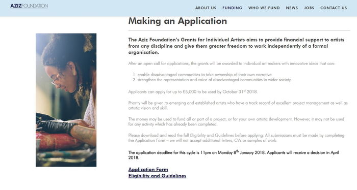 Aziz Foundation – Grants for Individual Artists