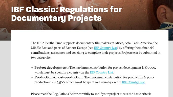 IBF Classic: Regulations for Documentary Projects