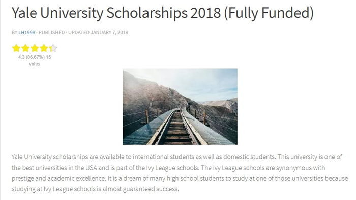 Yale University Scholarships 2018 (Fully Funded)