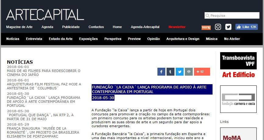PROGRAMA DE APOIO À ARTE CONTEMPORÂNEA EM PORTUGAL -La Caixa