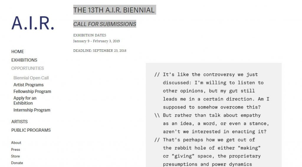 THE 13TH A.I.R. BIENNIAL – Call for Submissions