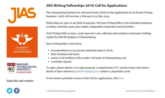 JIAS Writing Fellowships 2019: Call for Applications